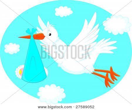 Stork with a newborn child