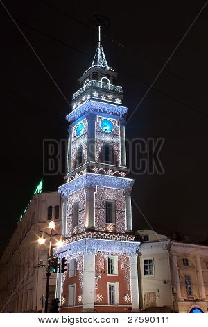 Christmas Illumination Of The Duma Tower