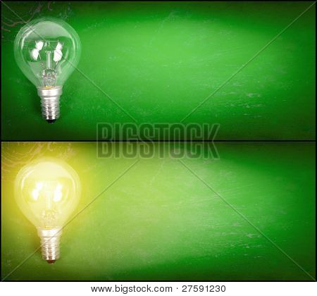 Lightbulb Over Green Background