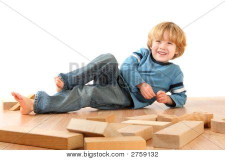 Happy Boy With Blocks