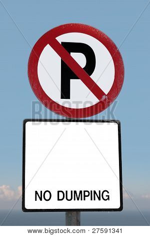 No Parking Sign On A Cliff Edge With Clipping Path