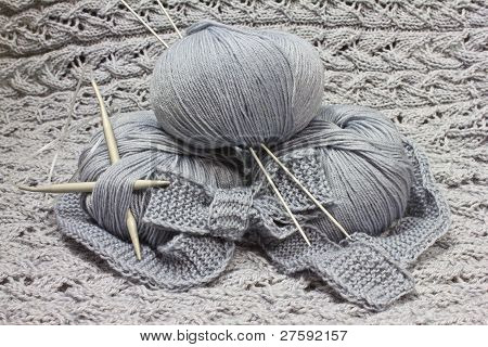 Skeins With Knitting Needles