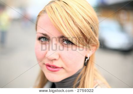Pretty Girl On Street. Face Close-up