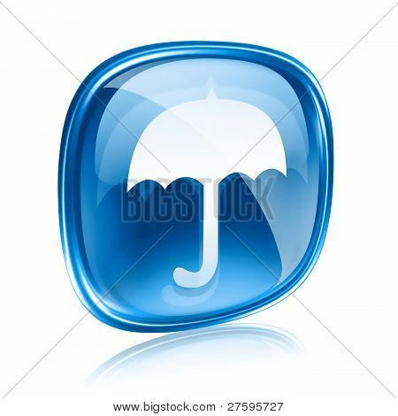 Umbrella Icon Blue Glass, Isolated On White Background