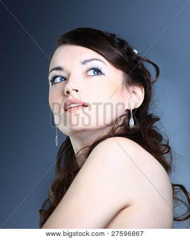 A beautiful girl . Isolated on a black