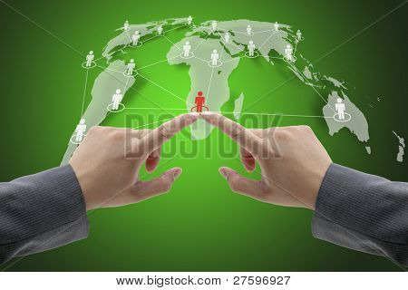 Business Hand Team Touch on Social Network Concept with World Map