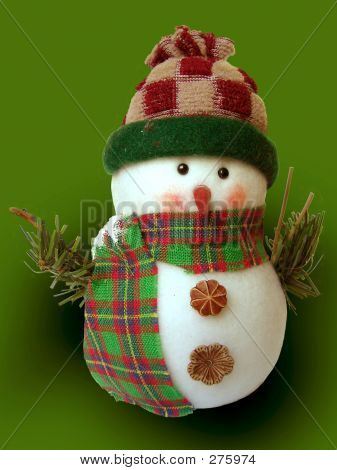 Snowman With Green Background