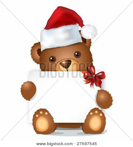 Brown Christmas Bear With Card Sitting