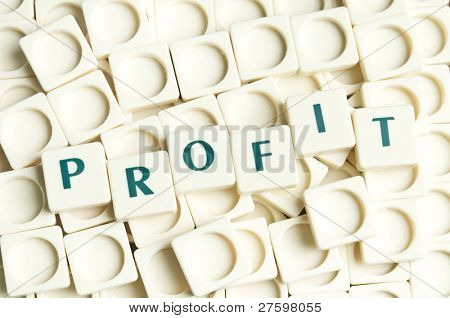Profit word made by leter pieces