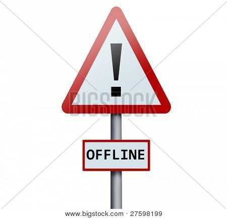 Offline word on road sign