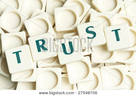 Trust word made by leter pieces
