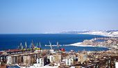 pic of sakhalin  - Panorama of the city on background mountain and sea landscape overhand.The Island Sakhalin.The Town Holmsk.     ** Note: Slight blurriness, best at smaller sizes - JPG