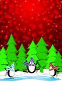 Постер, плакат: Пингвинов в каток зимой снег сцены иллюстрации