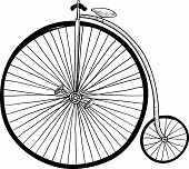 picture of penny-farthing  - Doodle style antique bicycle with large front tire in vector format - JPG