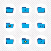 Vector Illustration Of 9 Folder Icons Colored Line. Editable Set Of Delete Folder, Shared Folder, Re poster