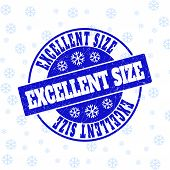 Excellent Size Round Stamp Seal On Winter Background With Snow. Blue Vector Rubber Imprint With Exce poster