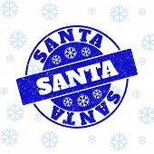 Santa Round Stamp Seal On Winter Background With Snow. Blue Vector Rubber Imprint With Santa Text Wi poster