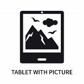 Tablet With Picture Icon Isolated On White Background. Tablet With Picture Icon Simple Sign. Tablet  poster