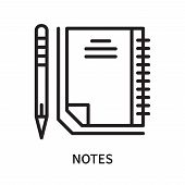 Notes Icon Isolated On White Background. Notes Icon Simple Sign. Notes Icon Trendy And Modern Symbol poster