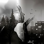 The Transition From The Forest To The City With The Silhouette Of A Girl. Capture The City Of Wildli poster