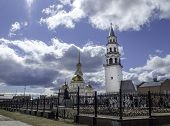 Church In The City And Nevyansk Leaning Tower. Famous Nevyansk Tower And Spaso-preobrazhensky Cathed poster