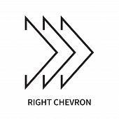 Right Chevron Icon Isolated On White Background. Right Chevron Icon Simple Sign. Right Chevron Icon  poster