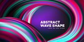 Wave Background, Abstract Colorful Poster With 3d Effect. Flow Liquid Shape. Fluid Vibrant Texture.  poster