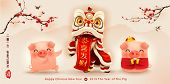 Happy New Year 2019. Chinese New Year. The Year Of The Pig. Translation: May You Have A Prosperous N poster