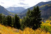stock photo of rocky-mountains  - Scenic landscape of Colorado rocky mountains in autumn time - JPG