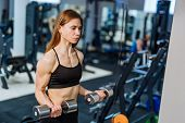 Strong Athletic Woman In Black Sport Wear Pumping Up Muscles With Dumbbells In The Gym. Fitness Girl poster