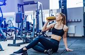 Fitness Woman Drinking Water While Sitting And Resting On The Floor In Gym. Woman Exercise Workout I poster