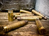 stock photo of shooting-range  - Bullet shells from AK - JPG