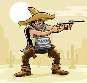 picture of crossed pistols  - mexican bandit with gun in prairie vector illustration - JPG