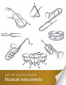 image of trombone  - set musical instrument vector illustration isolated on white background - JPG