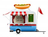 foto of covered wagon  - trailer fast food hot dog vector illustration isolated on white background - JPG