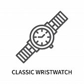 Classic Wristwatch Icon Isolated On White Background. Classic Wristwatch Icon Simple Sign. Classic W poster