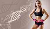 Athletic Fitness Woman Standing Among Dna Chains. Metabolism Concept poster
