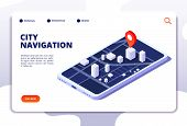 Navigation Map Isometric Concept. Gps Location System. Phone Tracker With Global Positioning. Vector poster