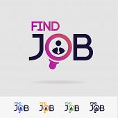 Find Job Vector Symbol Set Isolated On White Background For Search Agency, Hiring, Headhunter Websit poster
