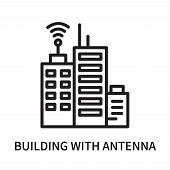 Building With Antenna Icon Isolated On White Background. Building With Antenna Icon Simple Sign. Bui poster