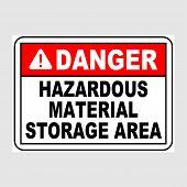 Plate: danger. Hazardous Material Storage Area. Sign: danger. Hazardous Material Storage Area On poster