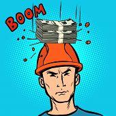Winning Jackpot Fine Concept, Money Fell On His Head. Comic Cartoon Pop Art Retro Vector Illustratio poster