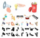Manipulation By Hands Cartoon, Black Icons In Set Collection For Design. Hand Movement Vector Symbol poster