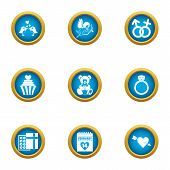 Wedding Formality Icons Set. Flat Set Of 9 Wedding Formality Icons For Web Isolated On White Backgro poster