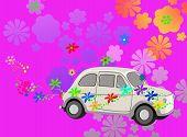 Постер, плакат: Цветочная державой хиппи автомобиля фэнтези
