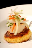 image of crab-cakes  - Asian scallop and crab cake appetizer with vegetables - JPG