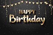 Happy Birthday Greeting Card, Gold On The Black Background. Gold Text Happy Birthday. Happy Birthday poster