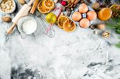 Christmas Winter Baking Concept, Ingredients For Making Cookies, Baking, Pies. Dried Orange Slices,  poster