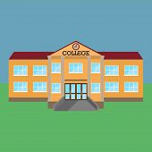 College. Vector Illustration Of A College Building. Facade Of The College Building. poster