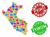 Social Network Map Of Peru And Rubber Stamp Seals In Red And Green Colors. Mosaic Map Of Peru Is Com poster